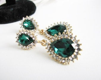 Gold toned Emerald Green Rhinestone Earring Drops Bridal Wedding Jewelry or Bridesmaids Gift Pageant Jewelry