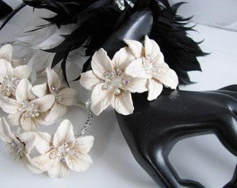 Adjustable Beige Corsage Wedding Bracelet  Bridal Bracelet  Bridal Jewelry Prom Corsage
