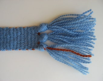 hand-woven wool inkle belt light blue
