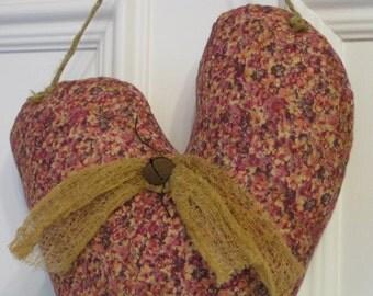 Primitive Hanging Heart Decor- Valentine's Day - Fabric - Wedding - Anniversary - Door Greeter - Door Hanger - Mauve & Pink Stuffed Heart