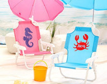 FREE SHIPPING!!  Personalized Child's Beach Chair w/ Umbrella -  Buy more and Save!