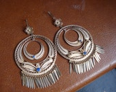 RESERVED for Cher Lones Vintage FRIDA KAHLO Style Mexican Sterling Silver Fringe Earrings Boho