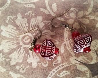 Red Box Silver Filigree Earrings