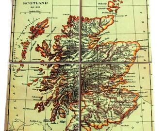 Vintage Scotland Map Coasters_Personalized Coaster Set_Wedding Gift under 50_Custom Travel Gift_Wedding Favor_Gifts for men_Vacation memento