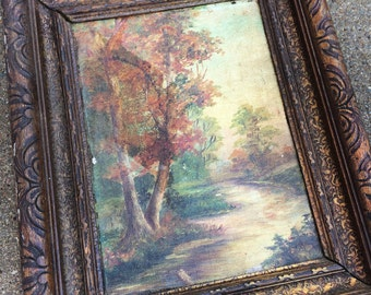 This 1914 Antique Oil Painting Takes You To The Wooded Shores