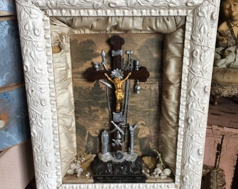 This Antique Gesso Cream Catholic Religious Relic Shadow Box Makes You Humble