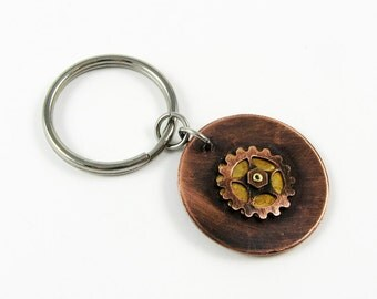 Steampunk Keychain - Rustic Reversible 2-Sided Key Chain with Metal Gears and Cogs
