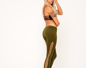 GREEN BRAIDED LEGGINGS, yoga leggings, high rise leggings, fairy leggings, braided leggings, festival clothing, yoga pants, burning man
