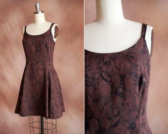 vintage 1990's brown floral brocade sleeveless mini skater dress / size s