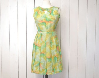 Mid Century Day Dress - 1960s Abstract Feather Print - Pleated Skirt Sleeveless Vintage Sun Dress - Carol Brent - Green Yellow - Medium M