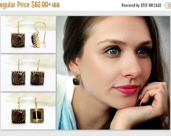 SUMMER SALE - Smoky quartz earrings,dangle earrings,hook earrings,gold earrings,bridal earrings,gemstone earrings,square earrings