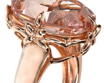 Morganite Ring- Morganite Engagement Ring- Flower Ring-Rose Gold Morganite Ring-Rose Gold Engagement Ring-Oval Morganite Ring-Gift To Her