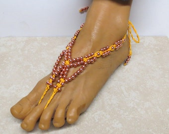 Copper and yellow barefoot sandals made with dyed hemp. Adult size bellydance and beach fashion!  HFT-A004