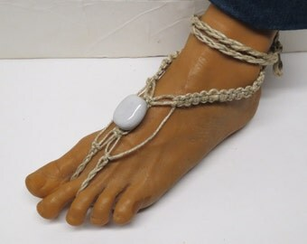 SALE Pair of White barefoot sandals made with hemp.  Beach and bellydance fashion. HFT-A274