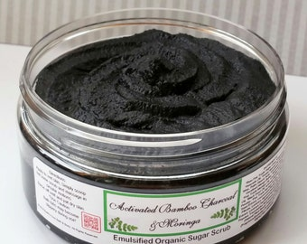 8 oz Activated Bamboo Charcoal & Moringa Emulsified Organic Sugar Scrub. Body and Face use. Organic, Fair Trade, Vegan, Gluten Free.