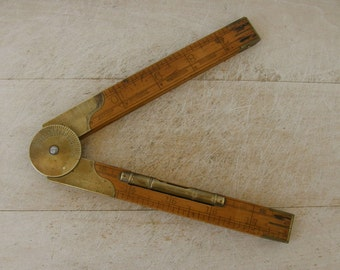 """LUFKIN LEVEL RULER No 863L Boxwood Rule Bubble Level 4 Fold 2' Long 1"""" 1/2"""" 1/3"""" 1/4"""" Scales 0-180 Degrees Architect's Inclinometer 1910's"""