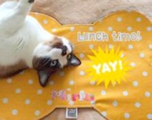 Dog Food Mat, Handmade Pet Placemat, Bone Pet Food Mat, Cat Food Mat, Personalized Pet Placemat, Waterproof Pet Placemat