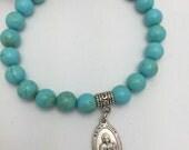 Custom Order for Michelle Saint Jude Bracelet Turquoise Beaded Bracelet with Religious Medal St Jude medal