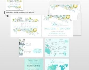 Pacific Islands Oceania - Fiji Destination wedding invitation Fiji Tahiti Samoa Solomon Tonga illustrated wedding invitation Deposit Payment