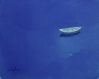 Original Oil Painting - Boat - Water - Seascape - 8x10 - Oil on Canvas - Blue - Impressionism - Rowboat - Small Painting - Boat Painting