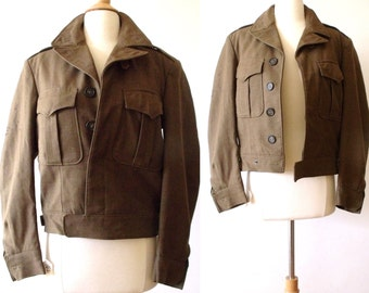 40's Military Wool Field Jacket  WWII US Army Khaki Olive Cropped Jacket
