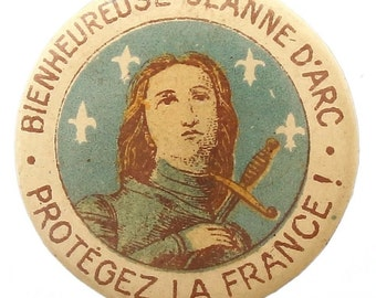 Saint Joan of Arc Hand Painted French Vintage Brooch Religious Jewelry