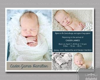 Custom Photo Birth Announcement - Baby Boy Caden  (JPEG Digital File) - You Print