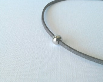 Solitaire single stainless steel bead grey suede cord simple minimalist necklace choker