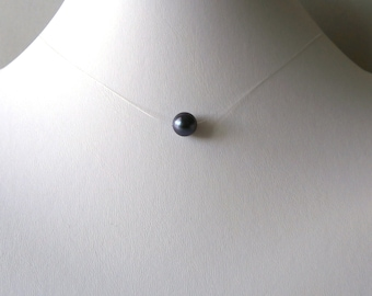 Solitaire single natural black pearl purple lustre invisible line simple minimalist necklace stainless steel floating illusion