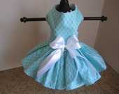 Dog Dress  XS  Aqua Diamonds By Nina's Couture Closet