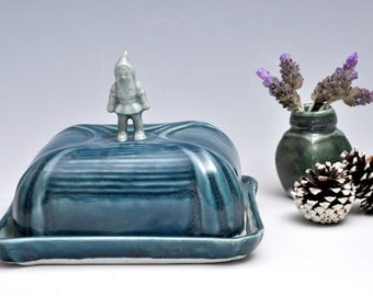 Gnome Ceramic Butter Dish / Ice Blue and Sapphire