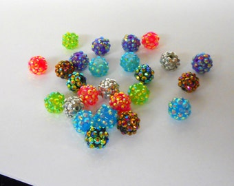 12  Resin Bumpy Beads w/the look of  Rhinestones all around  ... mixed colors ... in pairs of 2