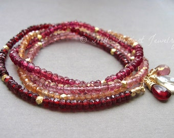 Gemstone Wrap Bracelet or Long Necklace with Garnet, Quartz, and Gold Vermeil Beads