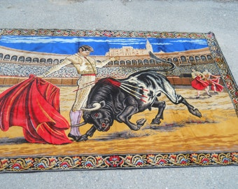 Vintage Large Velvet Tapestry/Rug/Wall Hanging-Spanish Matador-Bullfighting- Made in Italy 73x49-Vivid Colors