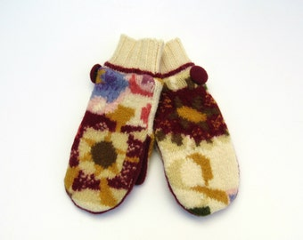 Wool Sweater Mittens Fleece Lined Abstract Multi Colored Floral Felted Wool Mittens
