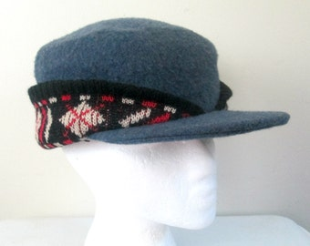 1950s Wool Argyle Knit Flap Hat Cap Quilted Lining Mid Century Unisex Kitsch Winter Accessory