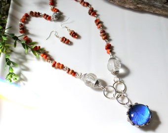 Blue Butterfly Wing Red Jasper Necklace and Earrings Set, Beaded Real Butterfly Necklace