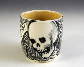 Skull cup day of the dead skeleton demitasse OOAk Carpe diem, Live it up