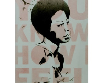 Pop Art and Graffiti Inspired Portrait of Nina Simone 12x16 on Canvas Music Jazz Blues Songstress