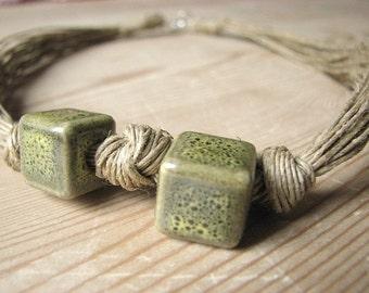 Ceramic green cubes - linen necklace