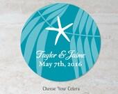 Starfish Favor Label - Beach Wedding Sticker - Bridal Shower Baby Shower Label - Treat Bag Label - Welcome Bag Label - Choose Your Colors