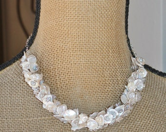 Luxe Keishi Pearl Necklace,Genuine Pearls,Sterling Silver,Statement,Ivory,White,Dove Grey,Gray,Bridal Weddings,Beach,June Birthstone,Muted