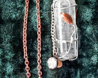 Glass Bottle Pendant Organic Undulating Copper Leaves and Silver