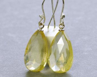 Lemon Quartz Dangle Earrings by Agusha. Lemon Quartz Sterling Silver Earrings. Lemon Yellow Gemstone Dangle.