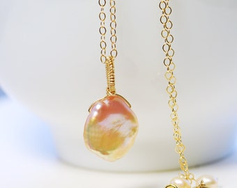 Dainty Keishi Pearl Pendant by Agusha. Keishi Pearl Necklace. Pearl Necklace. Pearl Choker