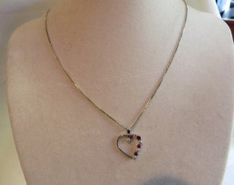 """20 1/2"""" Heart Necklace with with Purple and CZ Beads, necklace, heart, purple, cubic zirconia"""