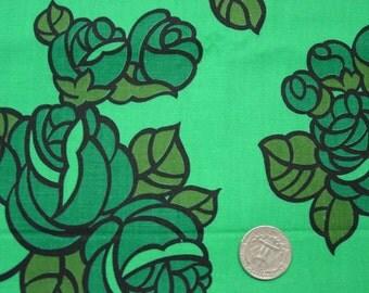 """Vintage Cotton Fabric c.1950's Gorgeous Color Floral Print, 35"""" Wide, 3 Yds.20"""""""