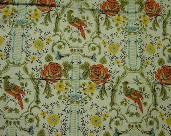 "Pretty Vintage Cotton Fabric, Fanciful Design with Bird, 44"" Wide, x 43"""