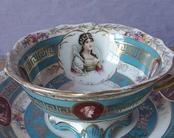 Antique Portrait Tea cup, Austria Porcelain tea cup set, Cameo tea cup and saucer, Antique teacup,  Blue and white china teacup, Princess