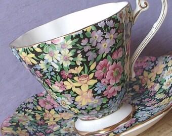 Vintage 1950's Royal Standard chintz tea cup and saucer, black tea cup set, English tea set, bone china tea cup, antique tea cup set